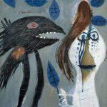 CConstant. La donna che ha ferito un uccello con una foglia morta, 1949. Olio su tela. Galleria d'arte, Emden - Fondazione Henri e Eske Nannen, dono Otto van de Loo © Constant by SIAE 2015