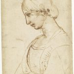 Raffaello. Testa di donna di profilo. Penna e inchiostro, carta. Gabinetto Disegni e Stampe degli Uffizi, Firenze