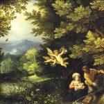 Jan Brueghel il Vecchio e Hans Rottenhammer. Riposo durante la fuga in Egitto, 1595 ca. Pittura su rame, cm. 25 × 19. Museo di storia dell'Arte, Vienna