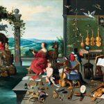Jan Brueghel il Giovane. Allegoria dell'udito, 1645-1650 ca. Olio su tela, cm. 57 × 82,5. Collezione Diane Kruger, Ginevra