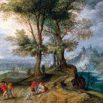 Jan Brueghel il Giovane. Contadini che tornano dal mercato, 1630 ca. Olio su rame inserita nel pannello, cm. 12,7 × 15. Collezione privata, New York