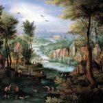 Jan Brueghel il Vecchio. Paesaggio fluviale con bagnanti, 1595 - 1600. Olio su rame, cm. 17 x 22. Collezione privata, Svizzera