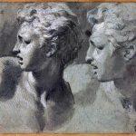 Parmigianino. Due studi della stessa testa di un giovane di profilo (dal Laocoonte) - Pennello e inchiostro diluito, biacca, carboncino, parziale puntinatura (sulla figura a sinistra), carta cerulea. Gabinetto Disegni e Stampe degli Uffizi, Firenze