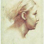 Parmigianino. Testa di giovane donna di profilo. Pietra rossa, carta. Gabinetto Disegni e Stampe degli Uffizi, Firenze