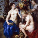 Peter Paul Rubens and Frans Snyders. Tre ninfe che riempiono una cornucopia. circa 1617. Olio su tavola, cm. 223 × 162. Museo del Prado, Madrid