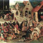 Pieter Brueghel il Giovane. Le sette opere di misericordia, 1616 - 1618 ca. Olio su tavola,cm. 44 x 57,5 . Collezione privata, Bruxelles