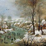 Pieter Brueghel il Giovane. Paesaggio invernale con pattinatori e trappola d'uccello, 1565. Olio su tavola di quercia, cm. 39 x 57. Museo di storia dell'arte, Wien