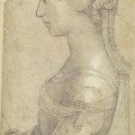 Raffaello. Busto di giovane donna di profilo. Pietra nera, penna e inchiostro, biacca, carta. Gabinetto Disegni e Stampe degli Uffizi, Firenze