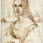Raffaello. Schizzo di una giovane donna su un balcone. Penna e inchiostro, c. 1504. Museo del Louvre