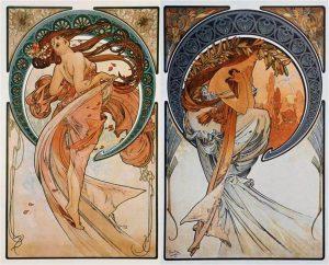 Alfons Mucha. Allegoria della danza e della poesia, 1902 - Art Nouveau