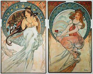 Alfons Mucha. Allegoria della musica e della pittura, 1902 - Art Nouveau