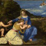 Andrea Schiavone. Tiziano Vecellio. Madonna Aldobrandini (Madonna col Bambino e i santi Caterina d'Alessandria e Giovannino), 1532 ca. Olio su tela, cm. 131,4 X 174. The National Gallery, Londra