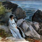 Adolf Hirémy-Hirschl. Ritratto della moglie dell'artista, 1895-1896. Acquarello su carta, cm. 24,1 x 34,6. Galleria Carlo Virgilio, Roma. San Valentino