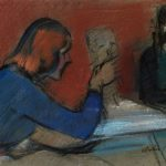 Arturo Checchi. Zena che modella un ritratto, 1946 ? Pastello su carta, cm. 42,5 x 61. Galleria d'Arte Bacci di Capaci, Lucca. San Valentino