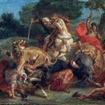 Eugène Delacroix. La caccia al leone, 1858. Olio su tela, cm. 91,7 x 117,5. Museum of Fine Arts, Boston