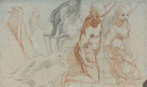 """Federico Barocci. Due studi di figura, una nuda e l'altra vestita con putto fra le braccia per la """"Madonna del Popolo"""", 1575-1579. Pietra nera, pietra rossa, gessetto bianco, parziale quadrettatura a pietra nera, tracce di ricalco, carta cerulea virata"""