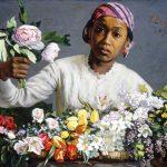 Eugène Delacroix. Frédéric Bazille. Giovane donna con Peonie, 1870. Olio su tela, cm. 60 × 75. National Gallery of Art, Washington, DC. Collezione di Mr. e Mrs. Paul Mellon 1983