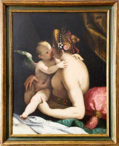 Giovan Battista Paggi. Venere che bacia Amore 1585-159. Olio su tela, cm. 99 x 77,5. Provenienza: Inghilterra, mercato antiquario