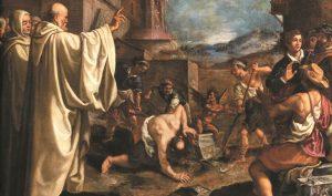 Giovanni Battista Vanni. San Benedetto scaccia il demonio dalla pietra, 1620-1621. Olio su tela Carrara, Collezioni d'arte del gruppo Banca Carige