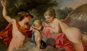 Jean - Hugues Taraval. Cupido tra Mercurio e Venere, 1778. Olio su tela