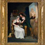 Pittore francese. Van Dyck mostra alla fidanzata Maria van Ophen il suo primo dipinto, l'Elemosina di san Martino, prima metà del XIX secolo. Olio su tela, cm. 32,5 x 24,5. Pandolfini Casa d'aste, Firenze. San Valentino