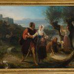 Pittore inglese. Cavaliere che corteggia una giovane, seconda metà del XIX secolo. Olio su tela, cm. 59 x 46. Provenienza: Roma, mercato antiquario. San Valentino
