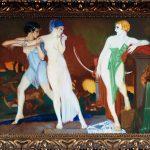 Pittore mitteleuropeo. Diana e Callisto, 1920 -1930. Olio su carta, cm. 43 x 57. Provenienza: mercato antiquario. San Valentino