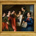 Pittore toscano. Ritratto di famiglia riunita attorno all'immagine del padre assente 1849. Olio su tela, cm. 41 x 52,5. Mercato antiquario, Roma. San Valentino