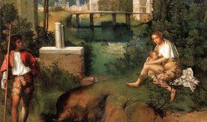 Giorgione. La tempesta, 1505-1508 ca. Olio su tela, cm. 82 X 73. Gallerie dell'Accademia, Venezia
