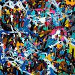 JonOne. Giochi sporchi, 2016. Acrilico e inchiostro su tela, cm. 96 x 110. © JonOne
