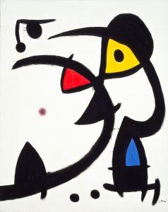 Joan Miró. Due personaggi perseguitati da un uccello, 1976. Collezione privata, Successiò Mirò by SIAE 2016
