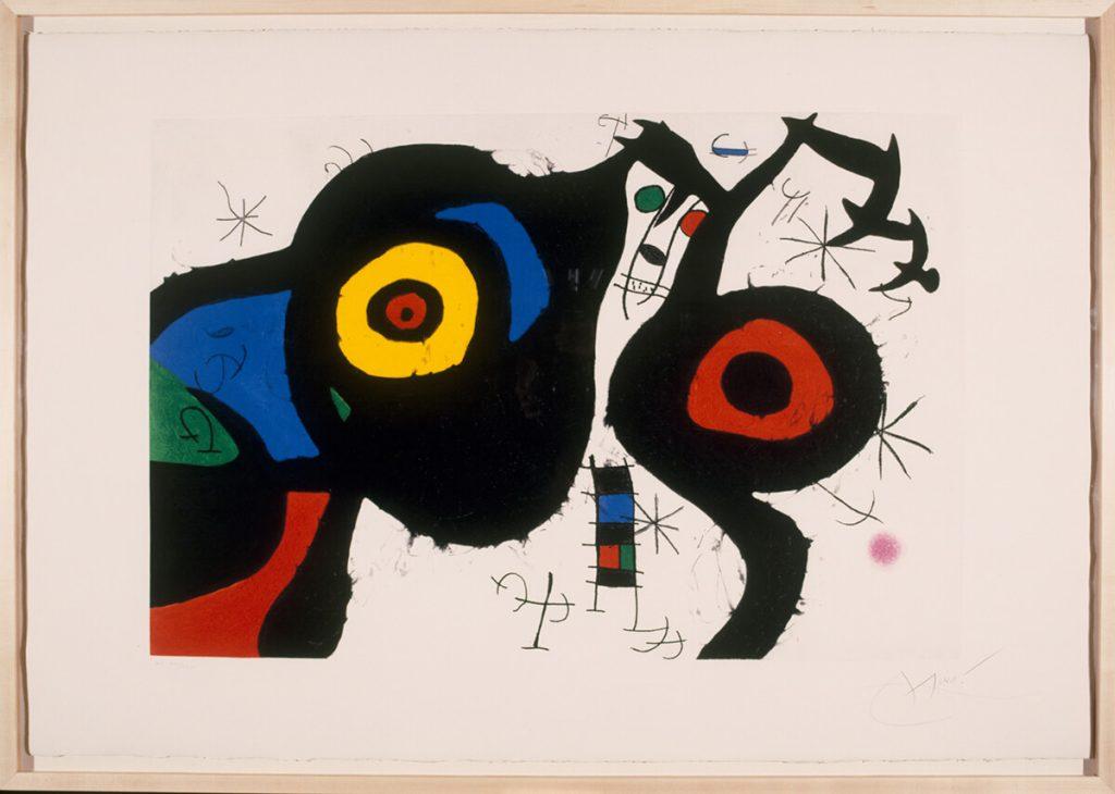 Joan Miró. I due amici, 1969. Acquaforte, acquatinta e carburo di silicio, cm. 71,5 x 106,5. Fundació Joan Miró, © Successió Miró by SIAE 2016. Barcellona