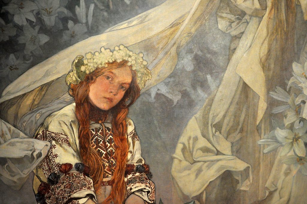 Alfons Mucha. Madonna dei gigli, 1905 (dettaglio). Foto Katarte