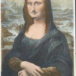 Marcel Duchamp. L.H.O.O.Q. 1919. Readymade ritoccata. Matita su una riproduzione della Mona Lisa di Leonardo da Vinci, cromolitografia, cm 19,7 × 12,4. Collezione privata