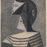 Da Kandinsky a Pollock. Pablo Picasso. Busto di uomo in maglia a righe, 1939. Gouache su carta, cm 63,1 x 45,6. Venezia, Collezione Peggy Guggenheim