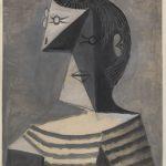 Pablo Picasso. Busto di uomo in maglia a righe, 1939. Gouache su carta, cm 63,1 x 45,6. Venezia, Collezione Peggy Guggenheim