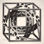 Escher a Milano. Escher. Cubo con nastri, 1957. Litografia, cm 30,9x30,5. Collezione Giudiceandrea Federico All M.C. Escher works © 2016 The M.C. Escher Company The Netherlands. All rights reserved