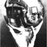 Escher. Mano con sfera riflettente, 1935. Litografia, cm 31,1x21,3. Fondazione M.C. Escher All M.C. Escher works © 2016 The M.C. Escher Company The Netherlands. All rights reserved
