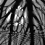 Escher a Milano. Escher. Superficie increspata, 1950. Linoleum, cm260 × 320. Collezione Federico Giudiceandrea