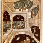 Escher. Altro mondo II, 1947. Xilografia a tre blocchi, cm 31,8x26,1. Collezione Giudiceandrea Federico All M.C. Escher works © 2016 The M.C. Escher Company. All rights reserved