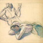Edgar Degas. Donna a riposo e ragazza seduta, 1884. Gesso bianco e pastello su carta con cinghie aggiunte