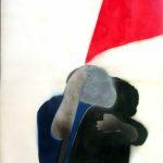 Franco Angeli. Abbraccio eterno, 1968. Smalto e tecnica mista su cartoncino, cm 140x100. Collezione Dello Schiavo, Roma