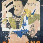Mimmo Rotella. Sua Maestà la Regina (classico), 1962. Decollage su tela, cm 136×93. Collezione privata