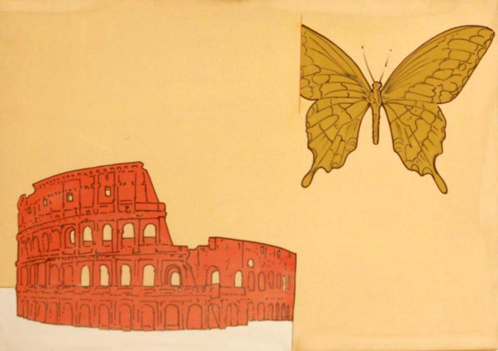 Renato Mambor. Colosseo e farfalla, 1966. Smalto e acrilico su tela, cm 70×100. Collezione Patrizia e Blu Mambor