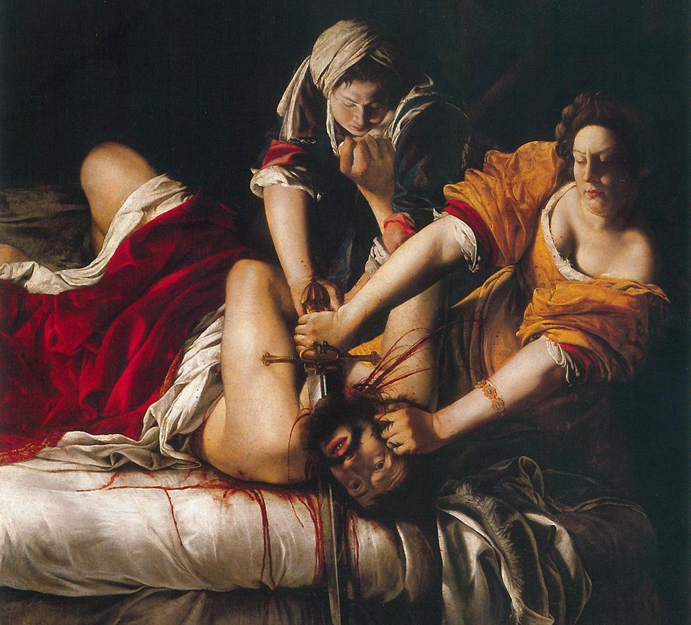 Artemisia Gentileschi. Giuditta decapita Oloferne, (1620 ca.). Olio su tela cm 199×162,5. Galleria degli Uffizi, Firenze