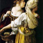 Artemisia Gentileschi. Giuditta e la fantesca Abra con la testa di Oloferne, 1618-1619 ca. Olio su tela, cm 114×93,5. Galleria degli Uffizi, Firenze