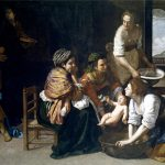 Artemisia Gentileschi. Nascita di San Giovanni Battista, 1633-35. Olio su tela, cm 164x258. Credits: Museo Nacional del Prado, Madrid