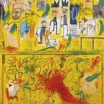 Jean-Michel Basquiat. Untitled (Yellow Tar and Feathers)), 1982. Acrilico, stick a olio, pastello, collage di carta e piume su pannelli di legno uniti, cm 245 × 229,2. Mugrabi Collection.