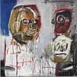 Jean-Michel Basquiat. Three Delegates, 1982. Acrilico, pastello a olio e collage su tela, cm 152,4 x 152,4. Mugrabi Collection