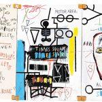 Jean-Michel Basquiat. Five Fish Species, 1983 . Acrilico e pastello a olio su tela montata su tre tavole, cm 169,9 x 356,9. Mugrabi Collection